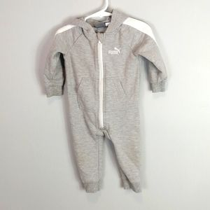 Puma Long Sleeved Hooded Bodysuit Gray Size 6-9M